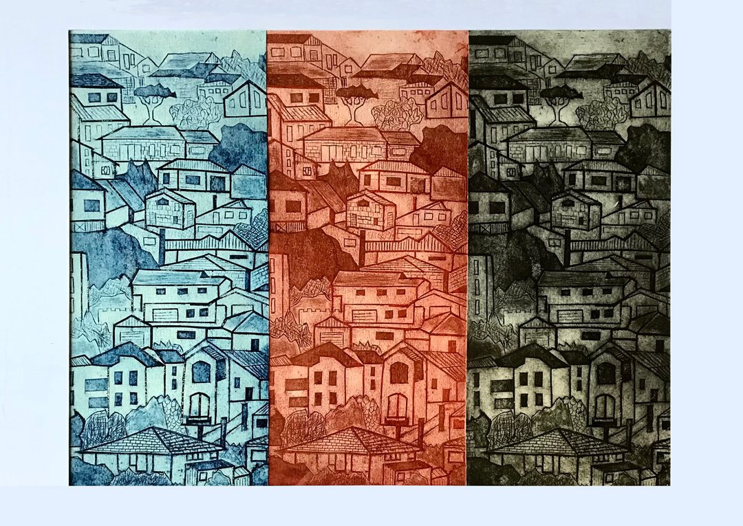 Banks Robyn | 2021 | Suddenly one summer | Collagraph print on paper | 52x73cm