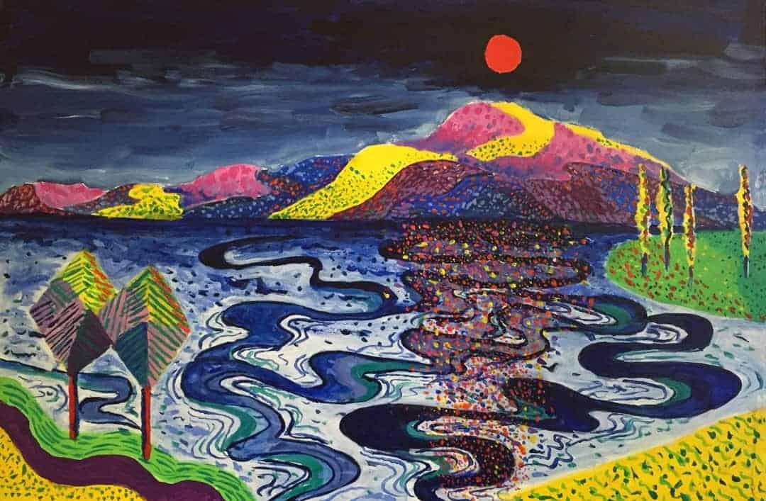 David Barrett | 2021 | Afternoon light on the lake | Acrylic on canvas | 91x61cms