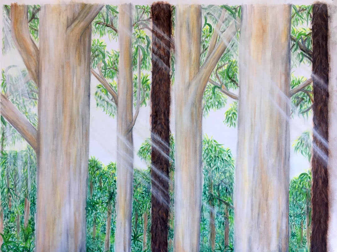 Briana Zaffina among the gumtrees Gouache and watercolour pait