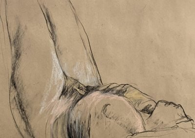 Buffy Jackson | Charcoal/pastel on brown paper | Monday afternoon life drawing
