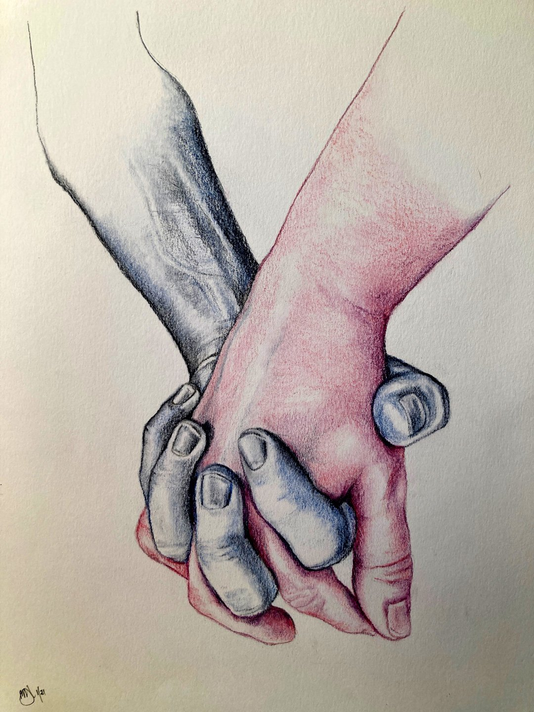 Mauree Domaschenzn | 2021 | Two hands | Pencil on paper | 40x30cm