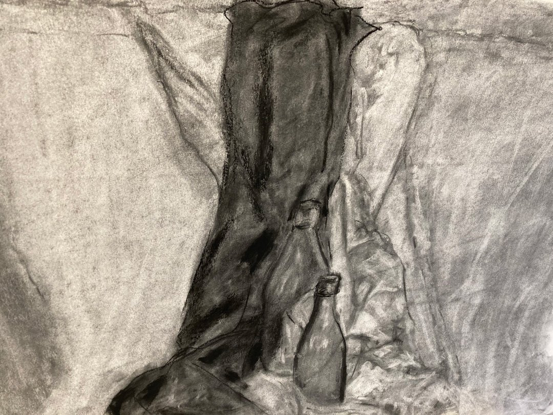 Richard Heaney   2021   Two bottles   Charcoal on paper   50x70cm