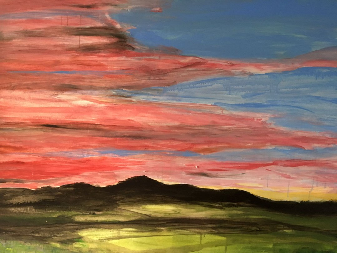 Louise Spencer Sunset over Mt Tennent Acrylic painting