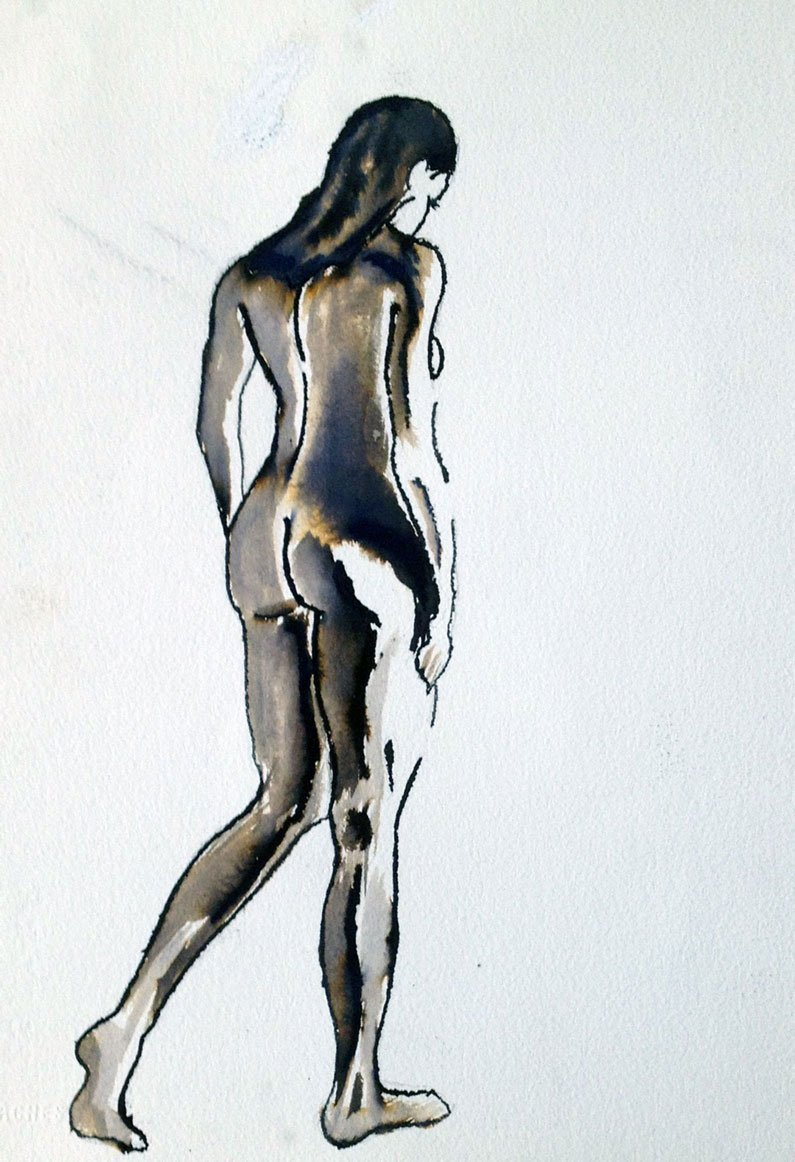 Life Drawing   Nude in ink