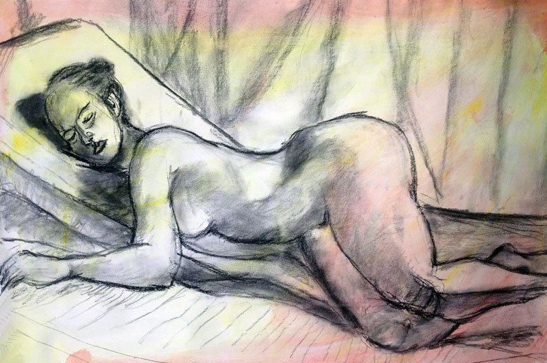 Charcoal Drawing | Reclining Nude