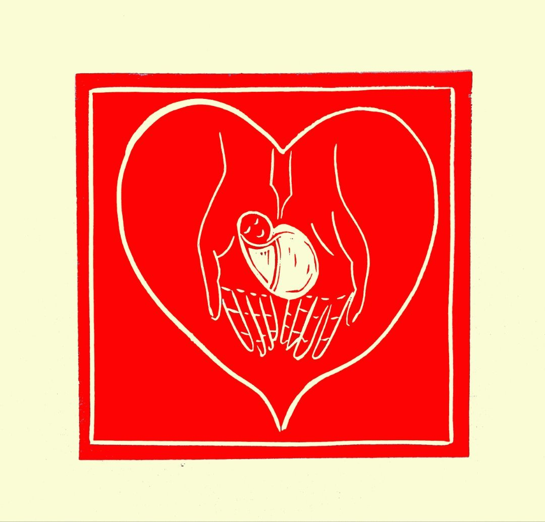 Patricia O'NEIL   Hand In Hand   Linocut Relief   2021